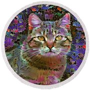 The Cat Who Loved Flowers 2 Round Beach Towel