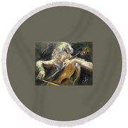 Round Beach Towel featuring the painting The Cellist by Debora Cardaci