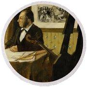 The Cellist Pilet Round Beach Towel by Edgar Degas