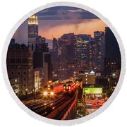 The City That Never Sleeps Round Beach Towel