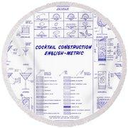 The Cocktail Construction Blueprint Round Beach Towel by Jon Neidert