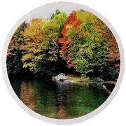The Colors Of Lake Raponda - Wilmington, Vermont Round Beach Towel
