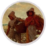 Round Beach Towel featuring the painting The Cotton Pickers by Winslow Homer