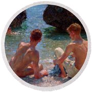 Round Beach Towel featuring the painting The Critics by Henry Scott Tuke