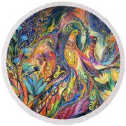 The Dance Of Oranges Round Beach Towel