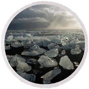 Round Beach Towel featuring the photograph The Diamond Beach, Jokulsarlon, Iceland by Dubi Roman