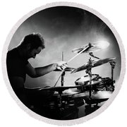 The Drummer Round Beach Towel
