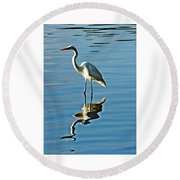 The Egret Round Beach Towel