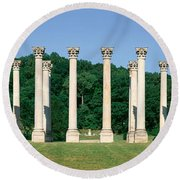 The First Capitol Columns Of The United Round Beach Towel
