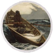 Round Beach Towel featuring the painting The Fog Warning - 1885 by Winslow Homer