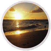 The Golden Hour Round Beach Towel