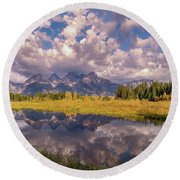 Round Beach Towel featuring the photograph The Grand Tetons National Park Autumn Olena Art Fall Colors Photography by OLena Art Brand