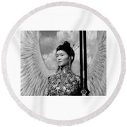Round Beach Towel featuring the painting The Guardian by Suzanne Silvir