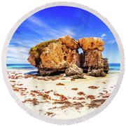Round Beach Towel featuring the photograph The Sentry, Two Rocks by Dave Catley
