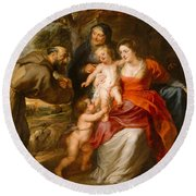 Round Beach Towel featuring the painting The Holy Family With Saints Francis And Anne And The Infant Saint John The Baptist by Peter Paul Rubens