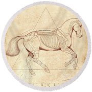 The Horse's Canter Revealed Round Beach Towel