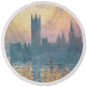The Houses Of Parliament  Sunset Round Beach Towel