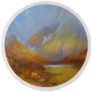The Little Croft In The Scottish Highlands Round Beach Towel by Joe Gilronan