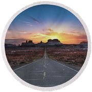 The Long Road To Monument Valley Round Beach Towel