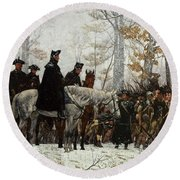 Round Beach Towel featuring the painting The March To Valley Forge by William Trego