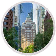 Round Beach Towel featuring the photograph The Marine Building by Ross G Strachan