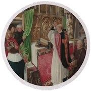 The Mass Of Saint Giles Round Beach Towel by Master of Saint Giles