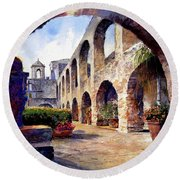 Round Beach Towel featuring the painting The Mission by Andrew King