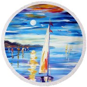The Moon And The Sails Round Beach Towel