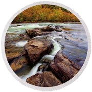 The New River At Sandstone Falls Round Beach Towel