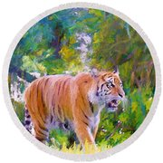 Round Beach Towel featuring the painting The  Prowler by Judy Kay