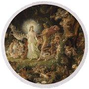 The Quarrel Of Oberon And Titania Round Beach Towel