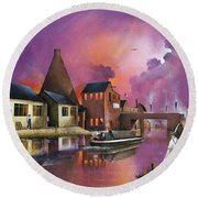 Round Beach Towel featuring the painting The Red House Cone, Wordsley by Ken Wood