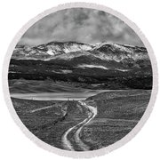 The Road That Leads You Home Round Beach Towel by Peter Tellone