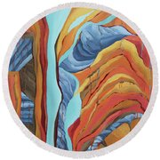 Round Beach Towel featuring the painting The Rocks Cried Out, Zion by Erin Fickert-Rowland