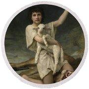 The Shepherd David Triumphant Round Beach Towel