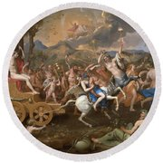 The Triumph Of Bacchus Round Beach Towel by Nicolas Poussin