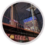 Round Beach Towel featuring the photograph The Uss Constellation by Mark Dodd