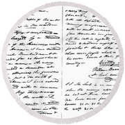 The Victory Of Death Letter Written By The Alamo Commander William Barret Travis, 1836  Round Beach Towel