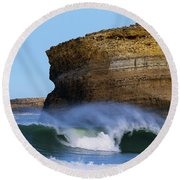 Round Beach Towel featuring the photograph The Wave by Thierry Bouriat