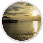 The West Pier Round Beach Towel