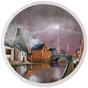 Round Beach Towel featuring the painting The Wordsley Cone by Ken Wood