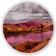 Round Beach Towel featuring the photograph The Yakima River by Jeff Swan