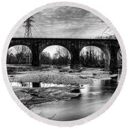 Thomas Viaduct In Black And White Round Beach Towel