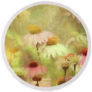 Thoughts Of Flowers Round Beach Towel