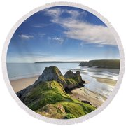 Three Cliffs Bay 5 Round Beach Towel