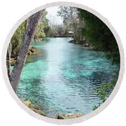 View From Spring 3 To Spring 2 At Three Sisters Springs Round Beach Towel
