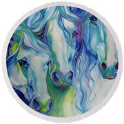 Three Spirits Equine Round Beach Towel