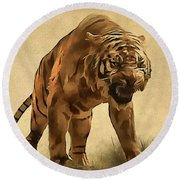 Tiger Round Beach Towel by Sergey Lukashin