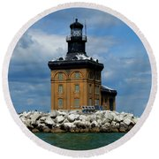 Toledo Harbor Lighthouse Round Beach Towel
