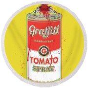 Tomato Spray Can Round Beach Towel by Gary Grayson